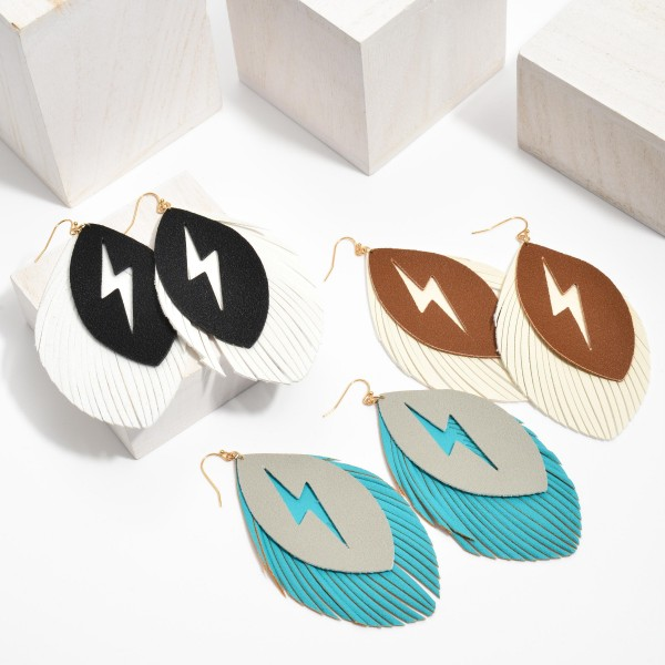 """Faux Leather Feathered Tassel Lightning Bolt Statement Earrings.  - Approximately 4"""" in Length"""