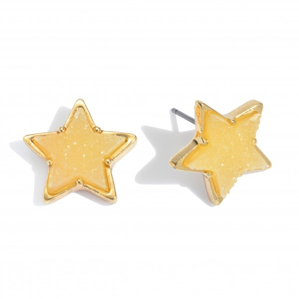 "Druzy Star Stud Earrings in Gold.  - Approximately .75"" in Size"