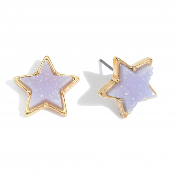 Wholesale druzy Star Stud Earrings Gold
