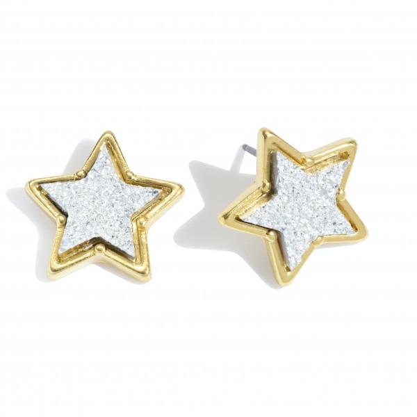 Wholesale druzy Star Stud Earrings Gold