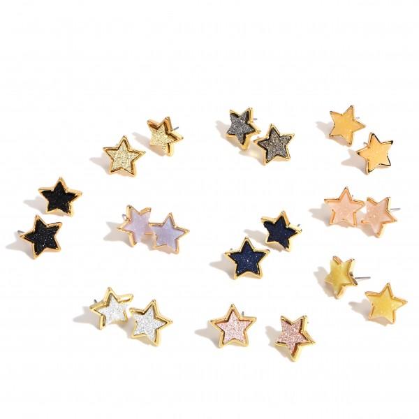 "Druzy Star Stud Earrings in Gold.  - Approximately .75"" in Size"