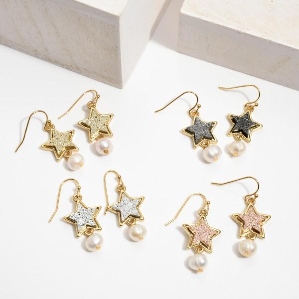 "Ivory Pearl Druzy Star Drop Earrings.  - Approximately 1"" in Length"
