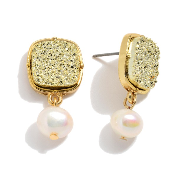 "Ivory Pearl Square Druzy Drop Earrings.  - Approximately 1"" in Length"