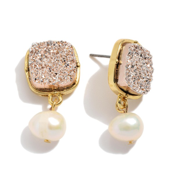 """Ivory Pearl Square Druzy Drop Earrings.  - Approximately 1"""" in Length"""