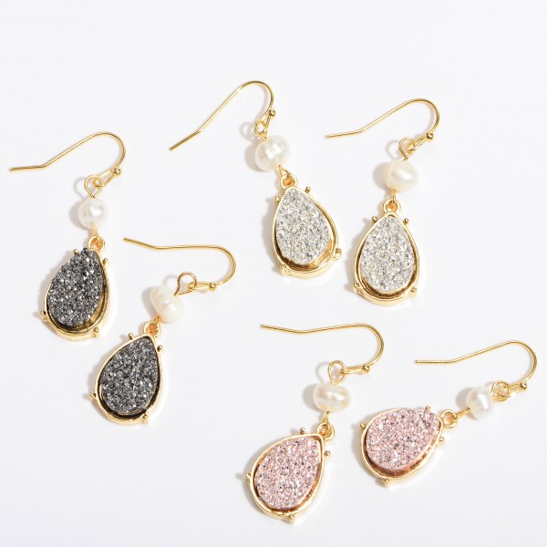 "Ivory Pearl Druzy Teardrop Earrings.  - Approximately 1"" in Length"