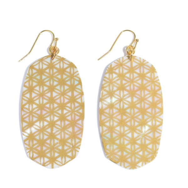 """Mother of Pearl Oblong Drop Earrings Featuring a Pattern Design Detail.  - Approximately 3"""" in Length"""