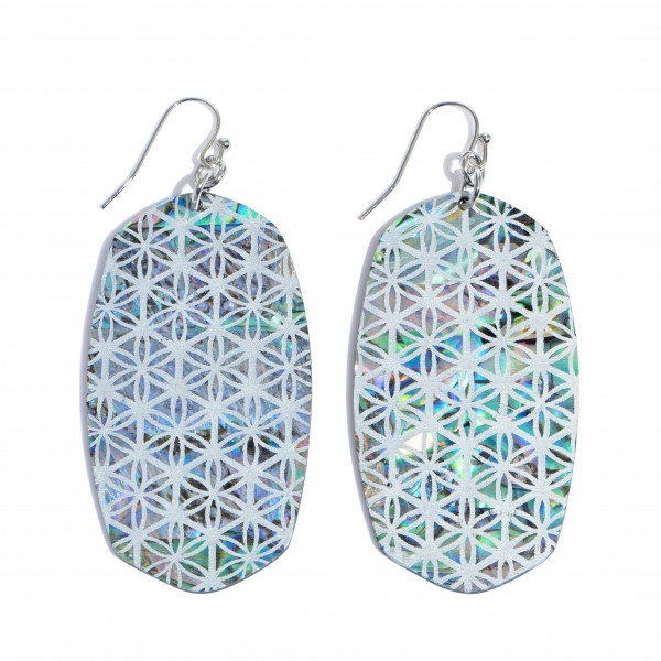 """Abalone Oblong Drop Earrings Featuring a Pattern Design Detail.  - Approximately 3"""" in Length"""