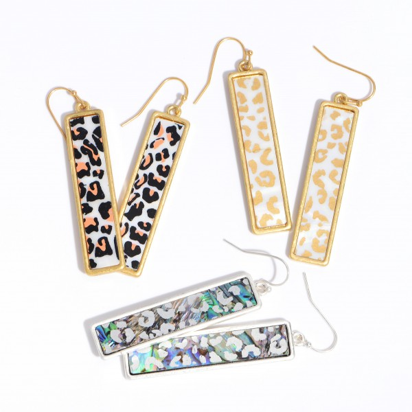 """Mother of Pearl Leopard Print Bar Earrings.  - Approximately 2"""" in Length"""
