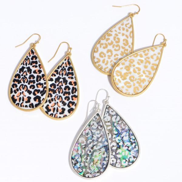 "Mother of Pearl Leopard Print Teardrop Earrings.  - Approximately 2.5"" in Length"