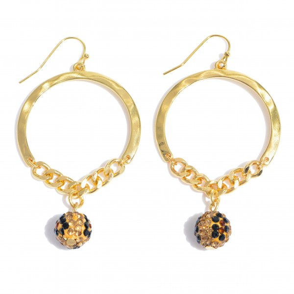 """Circular Chain Link Drop Earrings Featuring a Rhinestone Leopard Print Bead Detail.  - Bead 9mm - Approximately 2.25"""" in Length"""