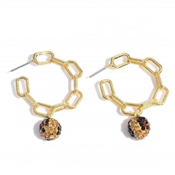 "Chain Link Hoop Earrings Featuring a Rhinestone Leopard Print Bead Detail.  - Bead 9mm - Approximately 1.25"" in Diameter"