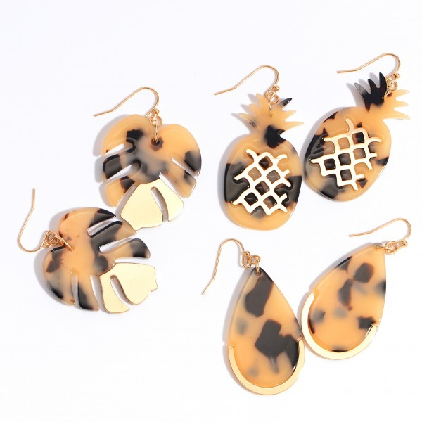"""Acrylic Palm Leaf Drop Earrings Featuring a Gold metal Accent.  - Approximately 2"""" in Length"""