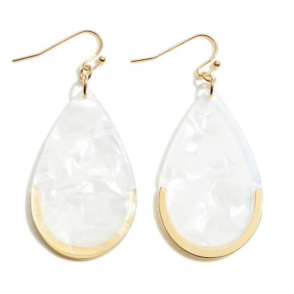 """Acrylic Teardrop Earring Featuring a Gold Metal Accent.  - Approximately 2"""" in Length"""