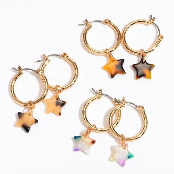"""Acrylic Star Hoop Earrings in Gold.  - Approximately 1"""" in Length - .75"""" in Hoop Diameter"""