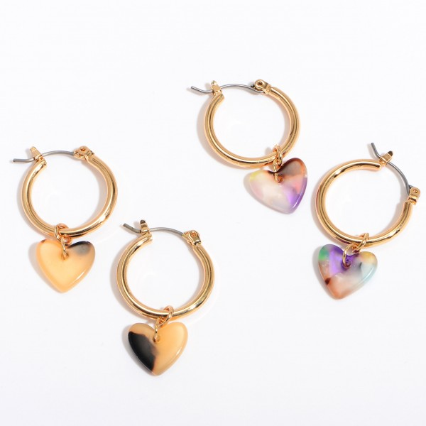 Acrylic Heart Hoop Earrings in Gold.  - Approximately 1' in Length - .75' in Diameter