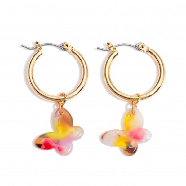 """Acrylic Butterfly Hoop Earrings in Gold.  - Approximately 1"""" in Length - .75"""" in Hoop Diameter"""