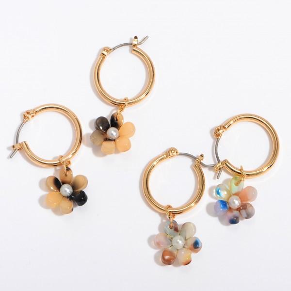 """Acrylic Flower Hoop Earrings Featuring Pearl Center Detail.  - Approximately 1' in Length - .75"""" in Hoop Diameter"""