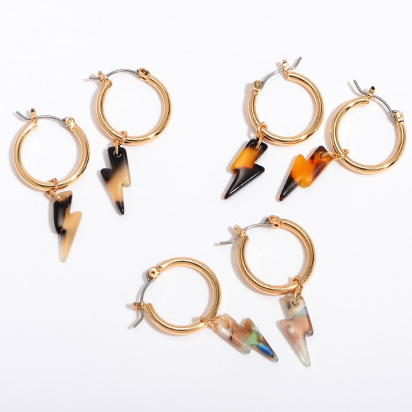 "Acrylic Lightning Bolt Hoop Earrings in Gold.  - Approximately 1"" in Length - .75"" in Diameter"