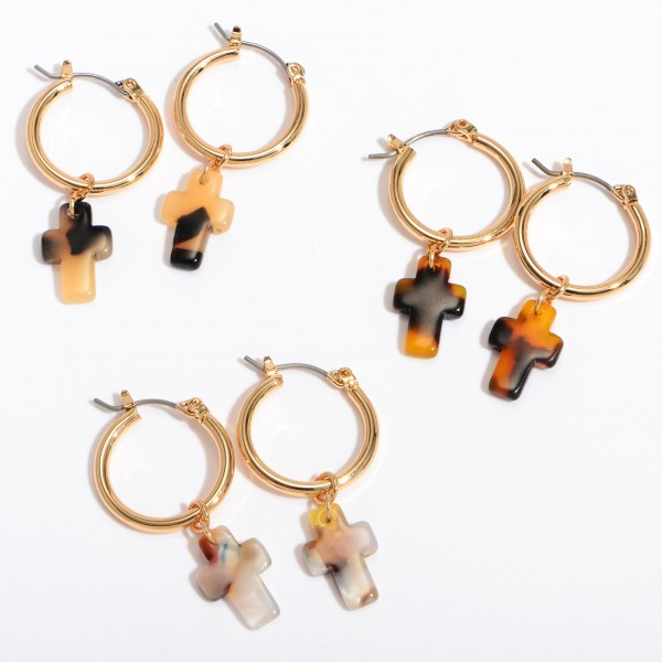 "Acrylic Cross Hoop Earrings in Gold.  - Approximately 1"" in Length - .75"" in Hoop Diameter"