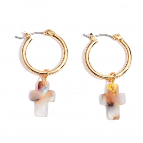 """Acrylic Cross Hoop Earrings in Gold.  - Approximately 1"""" in Length - .75"""" in Hoop Diameter"""
