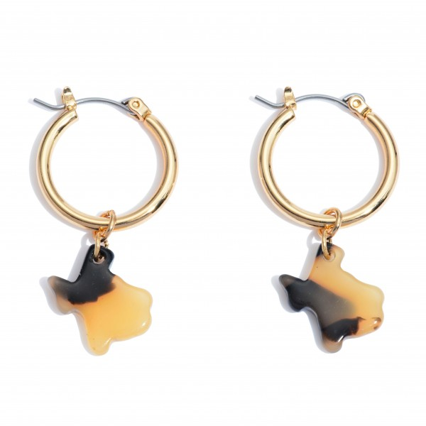 "Acrylic Texas State Hoop Earrings in Gold.  - Approximately 1"" in Length - .75"" in Hoop Diameter"