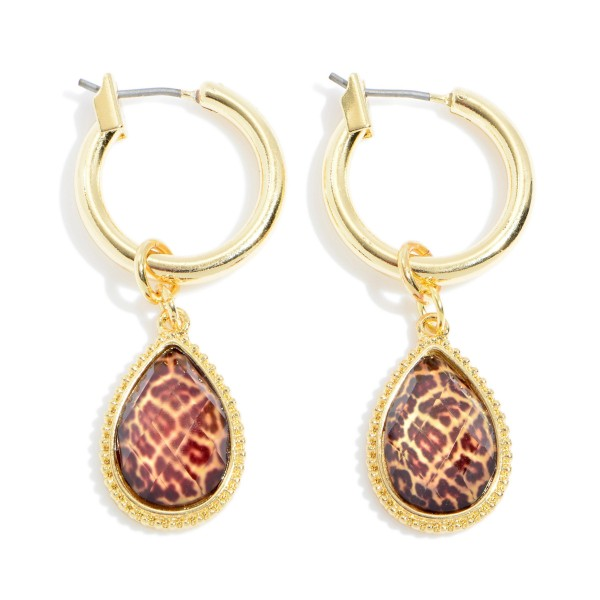 "Leopard Print Glass Teardrop Hoop Earrings in Gold.  - Teardrop .5"" - Hoop Diameter .75""  - Approximately 1.5"" in Length"