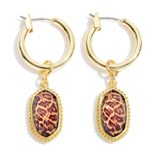 "Leopard Print Glass Drop Hoop Earrings in Gold.  - Accent .5""  - Hoop Diameter .75""  - Approximately 1.5"" in Length"
