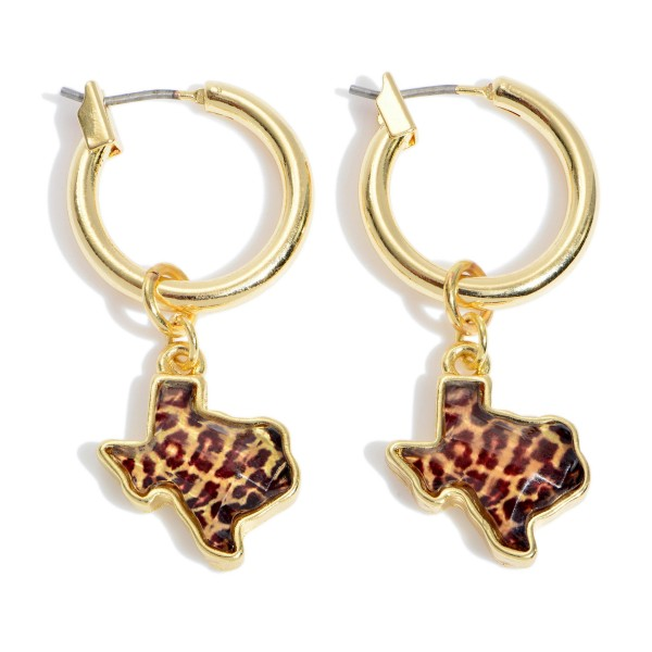 "Leopard Print Texas State Hoop Earrings in Gold.  - Texas .5""  - Hoop Diameter .75""  - Approximately 1.5"" in Length"
