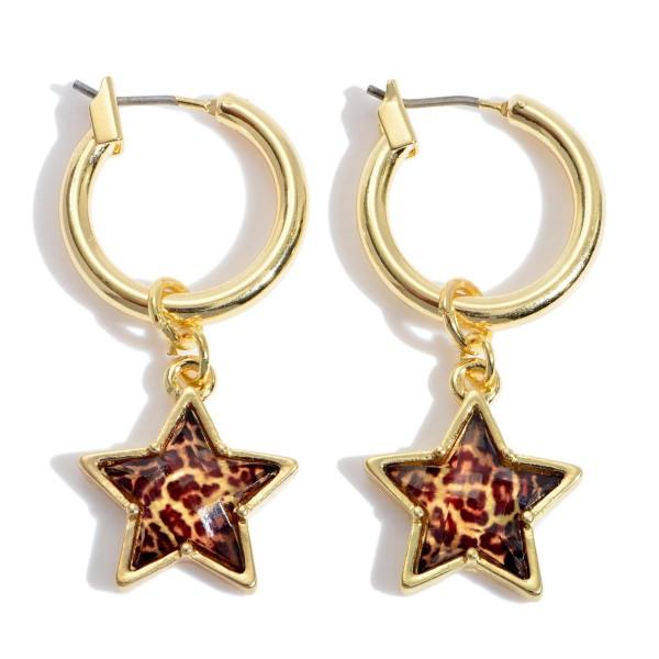 """Leopard Print Star Hoop Earrings in Gold.  - Star .5""""  - Hoop Diameter .75"""" - Approximately 1.5"""" in Length"""