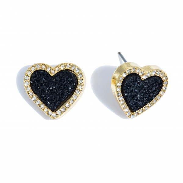 "Druzy Heart Stud Earrings in Gold Featuring Rhinestone Trim Detail.  - Approximately .75"" in Size"