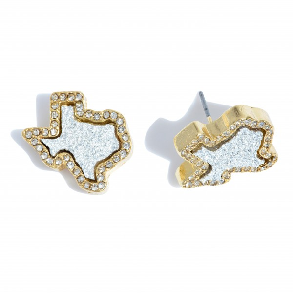 "Texas State Druzy Stud Earrings in Gold Featuring Rhinestone Trim Detail.  - Approximately .75"" in Size"