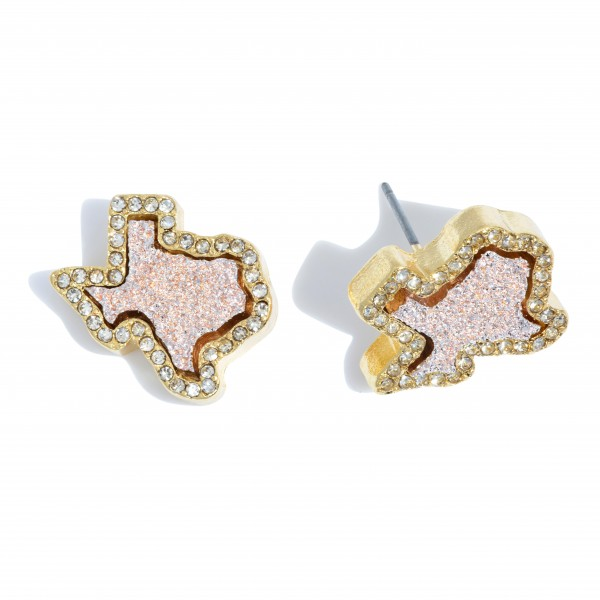 """Texas State Druzy Stud Earrings in Gold Featuring Rhinestone Trim Detail.  - Approximately .75"""" in Size"""