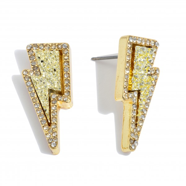 "Druzy Lightning Bolt Stud Earrings in Gold Featuring Rhinestone Trim Detail.  - Approximately 1"" in Length"