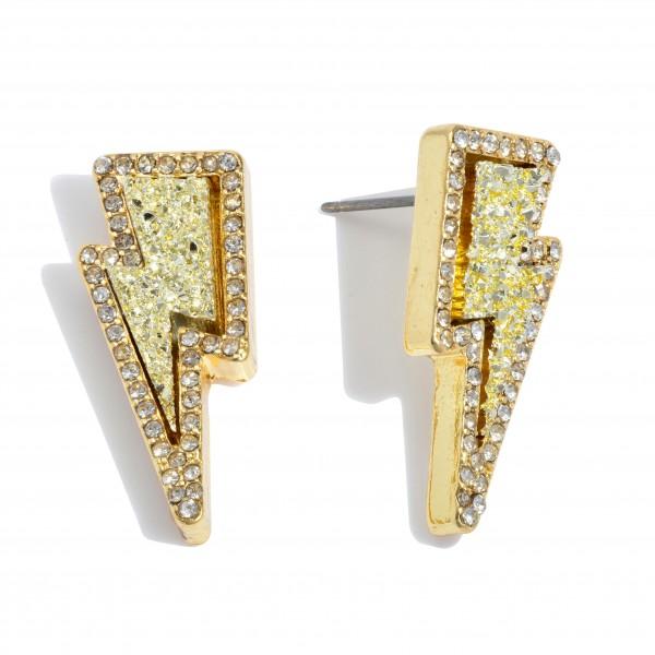 Wholesale druzy Lightning Bolt Stud Earrings Gold Rhinestone Trim Detail