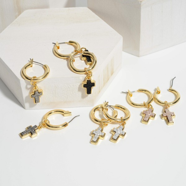 """Druzy Cross Drop Hoop Earrings in Gold.  - .75"""" in Hoop Diameter - Approximately 1.5"""" in Length"""