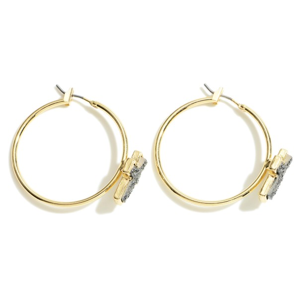"""Gold Hoop Earrings Featuring Druzy Cross Accents.   - Approximately 1"""" in Diameter"""