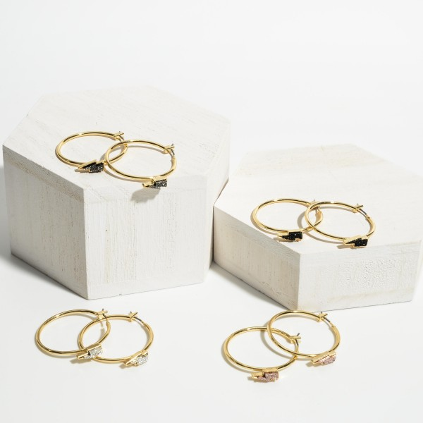 """Gold Hoop Earrings Featuring Druzy Lightning Bolt Accents.   - Approximately 1"""" in Diameter"""