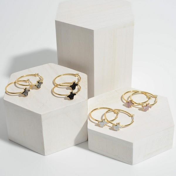 """Texas State Druzy Hoop Earrings in Gold.  - Approximately 1.25"""" in Diameter"""