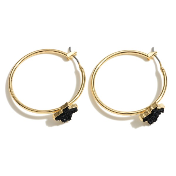Wholesale texas State Druzy Hoop Earrings Gold Diameter