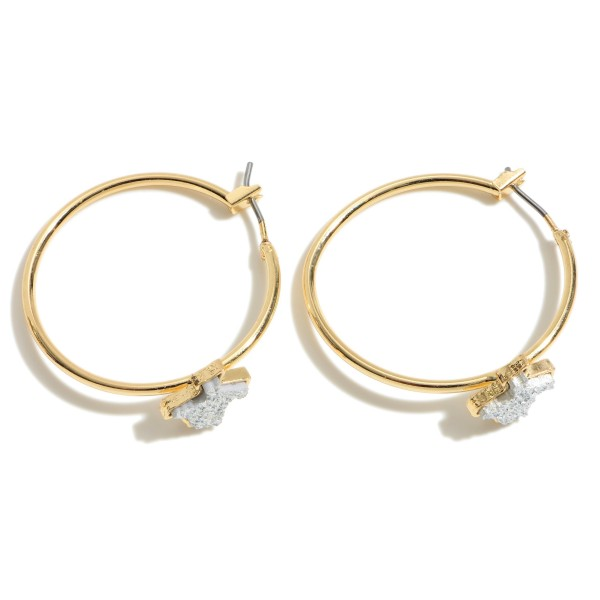 "Texas State Druzy Hoop Earrings in Gold.  - Approximately 1.25"" in Diameter"