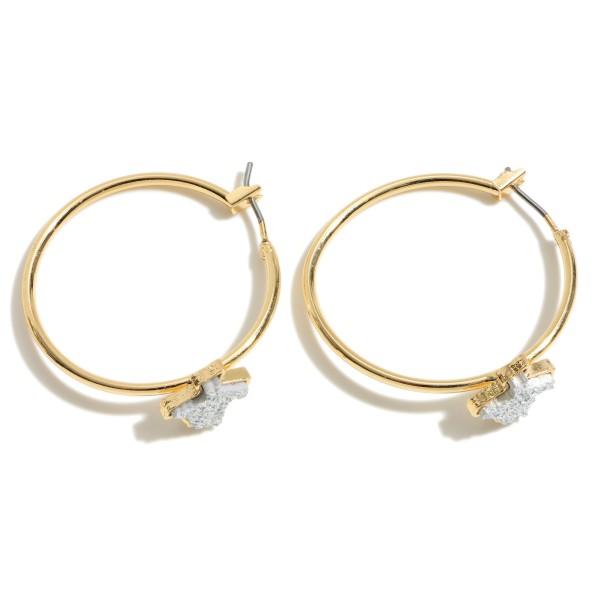 Wholesale texas State Druzy Hoop Earrings Gold Diameter