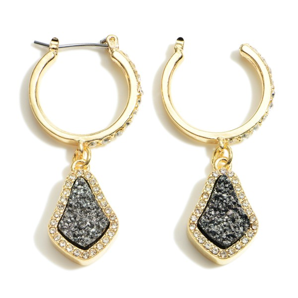"""Gold Hoop Earrings Featuring Druzy Drop Accents and Rhinestone Details.   - Approximately 1.5"""" in Length"""