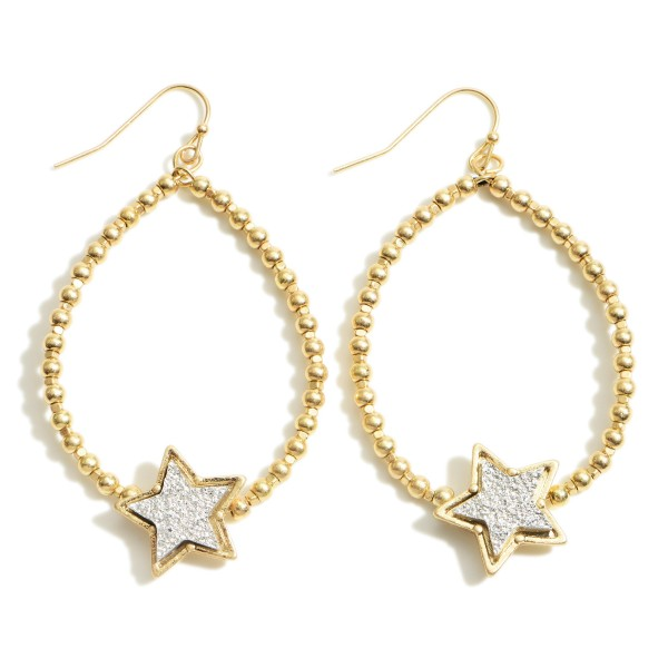 """Gold Beaded Teardrop Earrings Featuring Druzy Star Accents.   - Approximately 2.5"""" in Length"""