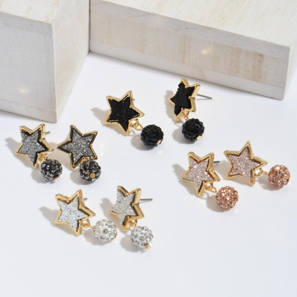"""Druzy Star Stud Earrings Featuring Rhinestone Drop Accent.  - Approximately 1"""" in Length"""