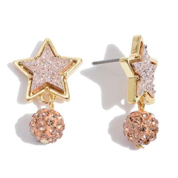"Druzy Star Stud Earrings Featuring Rhinestone Drop Accent.  - Approximately 1"" in Length"
