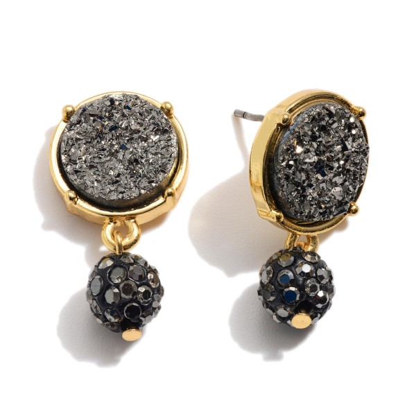 "Round Druzy Drop Earrings.  - .5"" in Diameter - Approximately 1"" in Length"