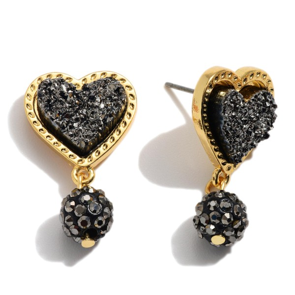 "Druzy Heart Drop Earrings.  - Approximately 1"" in Length"