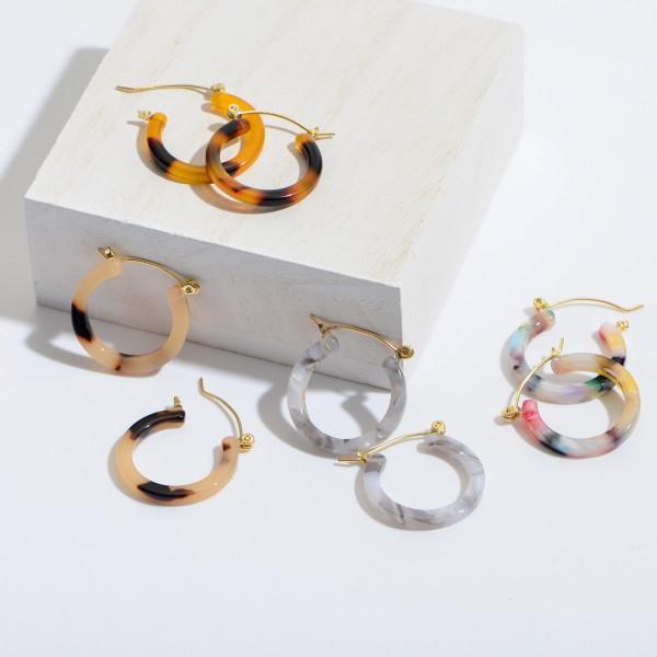 "Short Acrylic Hoop Earrings.  - Approximately 1"" in Diameter"
