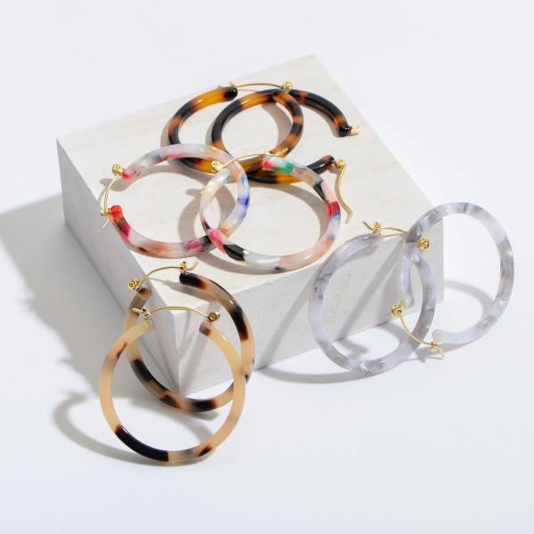 """Acrylic Resin Hoop Earrings,.  - Approximately 1.5"""" in Diameter"""