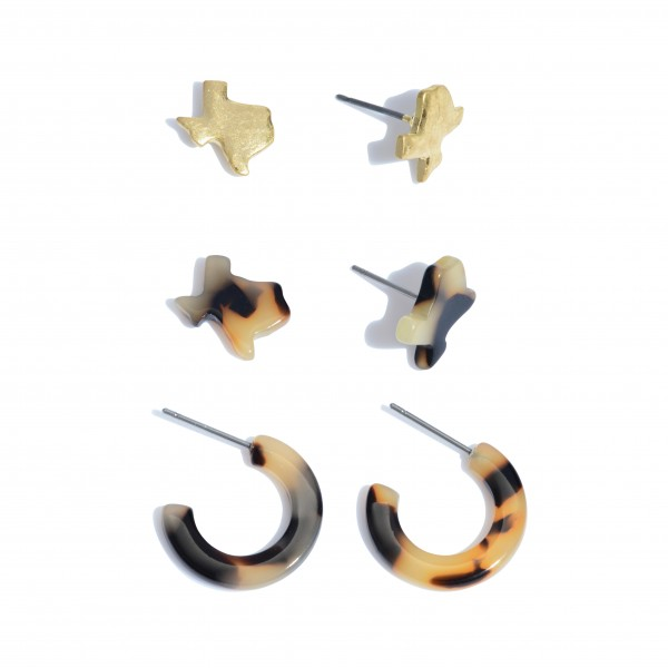 "3 PC Tortoise Texas State Earring Set in Gold.  - 3 PC Per Set - 2 Pair of Studs; 1 Pair of Hoops - Approximately 10mm - .5"" in Size"